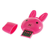 Mini-USB Memory Card Reader Rabit Head Shaped (Pink / Rose / vihreä)