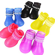 Dog Shoes & Boots Waterproof Summer Spring/Fall Solid Red Yellow Blue Purple Black Rubber