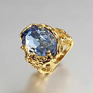 Vallomás gyűrűk Eljegyzési gyűrű Szerelem luxus ékszer Kocka cirkónia Arannyal bevont 18K arany Ékszerek Kék Ékszerek MertEsküvő Parti