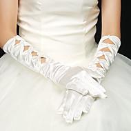 Kyynärpääpituus Kynsikkäät Glove Elastinen satiini Morsiuskäsineet Juhlakäsineet Kevät Kesä Syksy