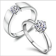 指輪 日常 ジュエリー 銅 / ラインストーン / 銀メッキ / プラチナメッキ 夫婦 カップルリング 1個,8 シルバー