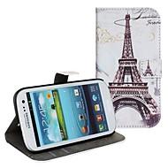 Varten Samsung Galaxy kotelo Korttikotelo / Tuella / Flip / Kuvio Etui Kokonaan peittävä Etui Eiffelin torni Tekonahka Samsung S2