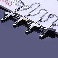 Spersonalizowany prezent w kształcie krzyża ze stali nierdzewnej Naszyjnik wisiorek grawerowane z 60cm Łańcucha (różne kolory)