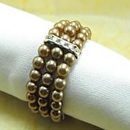 Muitas cores Crystal Pearl Guardanapo Ring, Pérola, Cristal, 4.5CM, conjunto de 12,