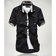 Men's Casual Stripes Embellishment Slim Shirt