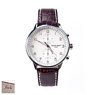 gepersonaliseerde gift van het Vaderdag mannen bruin witte wijzerplaat pu band analoge horloge gegraveerd