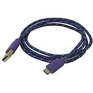 Details over 3ft vezelvlechtwerk Micro USB 2.0 Data Charger Cable voor Samsung Galaxy Opmerking 2 S3/S4 Purper