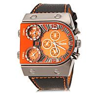 Oulm Herren Militäruhr Armbanduhr Quartz Drei-Zeit-Zonen PU Band Schwarz Weiß Orange Gelb Braun Rot