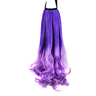 Ribbon Tied Purple Mixed Color Colorful Color Long Curly Synthetic Ponytail Hair Extensions