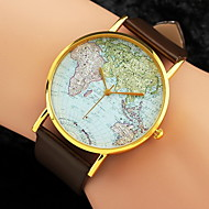 Women's Watch World Map Pattern PU Band