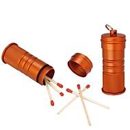 Aluminum Match Matches Box Waterproof Survival Case-Orange