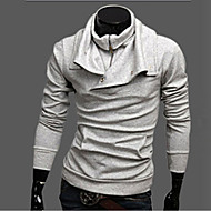 Men's Solid CasualCotton Blend Long Sleeve-Gray