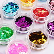 12-Color Hexagonal Glitter Tablets Nail Art Decorations