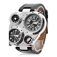Oulm Herren Militäruhr Armbanduhr Quartz Japanischer Quartz Duale Zeitzonen PU Band Schwarz Weiß Schwarz
