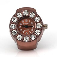Women's Round Quartz Metallic with Diamond Ring Watch