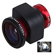 3-en-1 0.67X Lente Gran Angular Fisheye180 Grado Lente Macro Set para iPhone4/4S-Red
