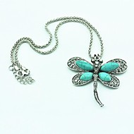 Vintage Antique Silver Dragonfly Turquoise Necklace(Green)(1 Pc)