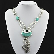 Vintage Antique Silver Turquoise Pendant Necklace(Green)(1 Pc)