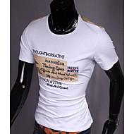 Men's Print Casual T-Shirt,Cotton Short Sleeve-Black / Orange / White