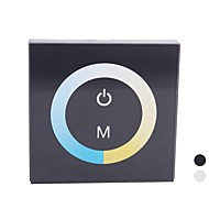 TM07 Touch Panel LED Color Temperature Dimmer Controller for Pure/Warm White LED Strip-Black(DC12V-24V 8A 2CH)