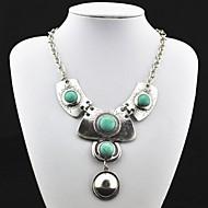 Vintage Antique Silver turkis anheng halskjede (grønn) (1 stk)