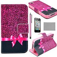 COCO FUN®パープルヒョウ柄財布カードスロットPUレザーケースiPhone 4S用スタンド付きフィルムとスタイラスを含ま
