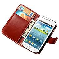 For Samsung Galaxy etui Pung Kortholder Med stativ Flip Etui Heldækkende Etui Helfarve Kunstlæder for Samsung Trend Duos