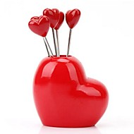 Heart Design Stainless Steel Fruit Forks