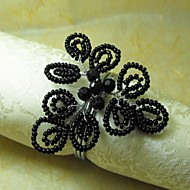 Preto Beads Guardanapo Ring, GlassBeades, 4cm, conjunto de 12,