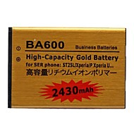 소니 ericssonphone의 st25l/xperia의 P / XPERIA u에게 대한 2430MAH 리튬 이온 폴리머 고용량 골드 배터리