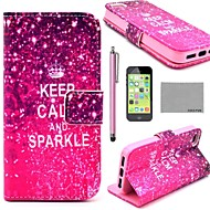 COCO FUN ® Calm Sparkle Mønster PU skinn Full Body sak med skjermbeskyttelse, Stylus og stativ for iPhone 5C