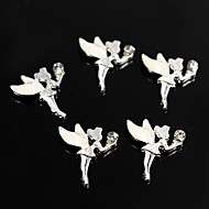 10pcs White Alloy Rhinestone Fairy Angel 3D Alloy Nail Art Decoration