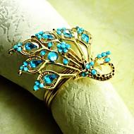 cristal anel de guardanapo pavão, beades acrílico, 4,5 centímetros, conjunto de 12,