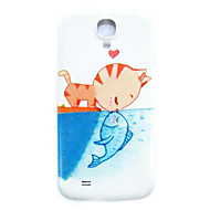 Cat and Fish Pattern Thin Hard Case Cover for Samsung Galaxy S4 Mini I9190