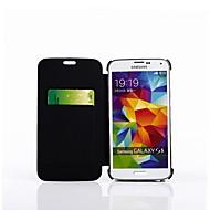 4200mah backup batteri læder flip cover til Samsung Galaxy S5 / kortpladser&stå (sort)
