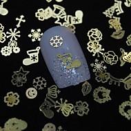 100szt mix kształtów złoty metalowy kawałek computerlv paznokci sztuki dekoracji