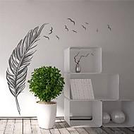 muurstickers moderne veer met vliegende vogels landschap pvc decoratieve muur stickers