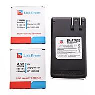 Link Traum 2 x Handy-Akku + Ladegerät für Samsung Galaxy S4 i9500 / I545 / I337 / L720 / M919 / R970 (3300 mAh)
