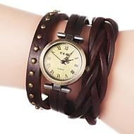 Women's Vintage Long Strap Style Leather Band Quartz Analog Bracelet Watch (Assorted Colors)