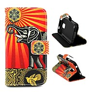 For Samsung Galaxy etui Kortholder / Med stativ / Flip / Mønster Etui Heldækkende Etui Elefant Kunstlæder Samsung S5 Mini