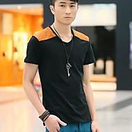 Men's V Neck Contrast Color Short Sleeve T-Shirt