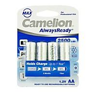 Camelion sempre pronto 2500mAh bateria Ni-MH recarregável aa baixa auto-descarga (4pcs)