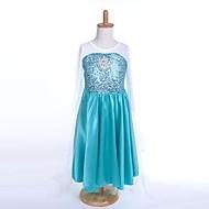 Snow Queen Elsa Blue Organza Kids Cosplay Costume