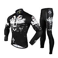 fjqxz мужская 3d тонкий срез волк дышащий с длинным рукавом Велоспорт костюм - белый + черный