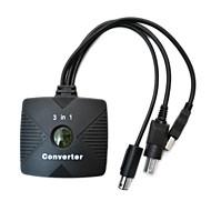 3-em-1 PSX / PS2 para USB / conversor de cabo GameCube xbox / pc para controle com fio ps2
