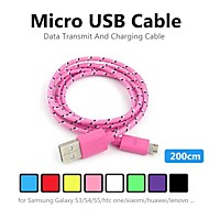 2m V8 Micro USB Tenacity Nylon Round Data Cable for Samsung and Other Phone (Assorted Colors)
