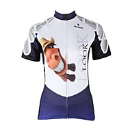 PaladinSport Women's Horse  Spring and Summer Style 100% Polyester Blue White Short Sleeved Cycling Jersey
