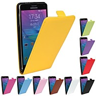 Flip-Open Solid Color Pattern Genuine Leather Full Body Case for Samsung Galaxy Note 4(Assorted Color)