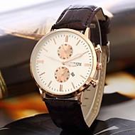 Masculino Relógio Elegante Quartz Calendário Couro Banda Preta / Marrom marca-