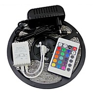 Waterproof 5M 300X3528 SMD RGB LED Strip Light and 24Key Remote Controller and 3A EU Power Supply (AC110-240V)